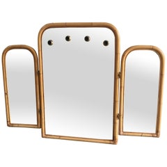 Mid-Century Modern Italian Triptych Bamboo Framed Lit Wall Mirror, 1970s
