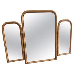 Mid-Century Modern Italian Triptych Bamboo Framed Lit Wall Mirror, 1970s