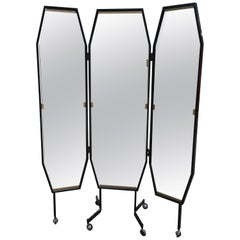 Mid-Century Modern Italian Triptych Full Length Dressing Mirror on Wheels, 1970s