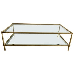 Mid-Century Modern Italian Two-Tier Brass Coffee Table with Mirrored Edge Glass
