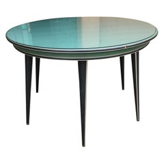 Mid-Century Modern Italian Umberto Mascagni Green and Black Round Table, 1960s