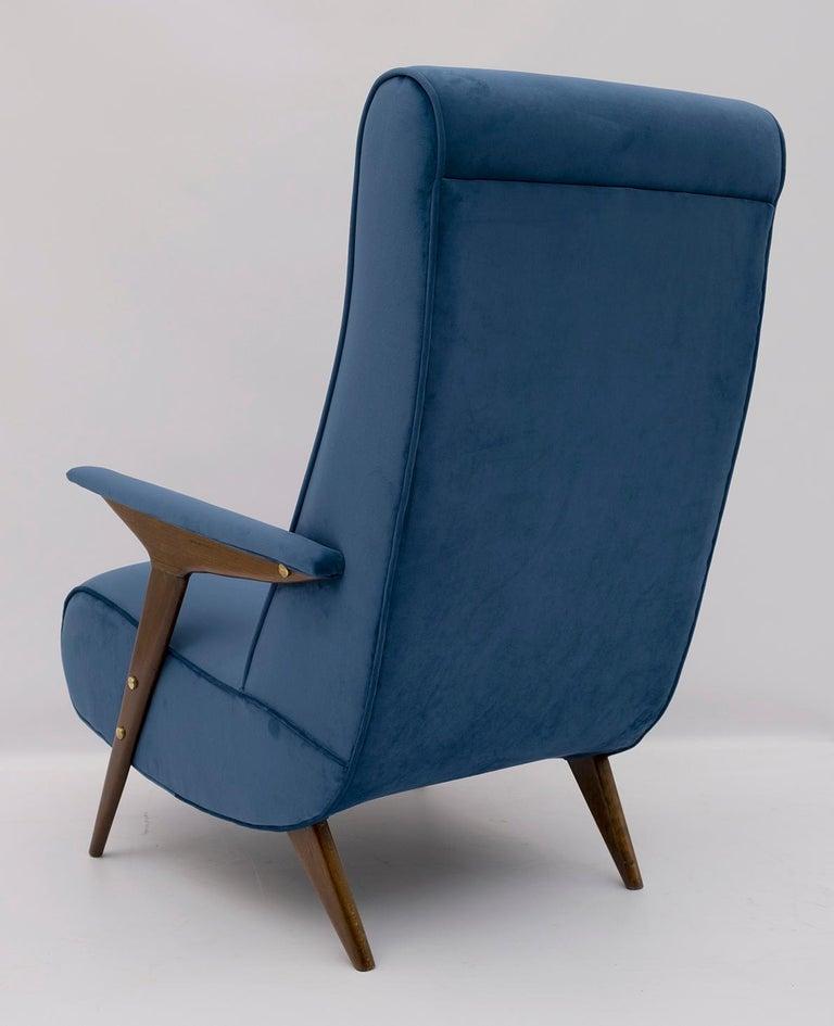Mid-20th Century Mid-Century Modern Italian Velvet Armchair, 1950s For Sale