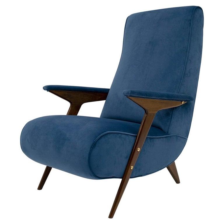 Mid-Century Modern Italian Velvet Armchair, 1950s For Sale
