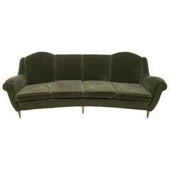 Mid-Century Modern Italian Velvet Curved Sofa, 1950s