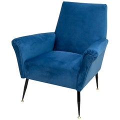 Mid-Century Modern Italian Velvet Small Armchair, 1950s