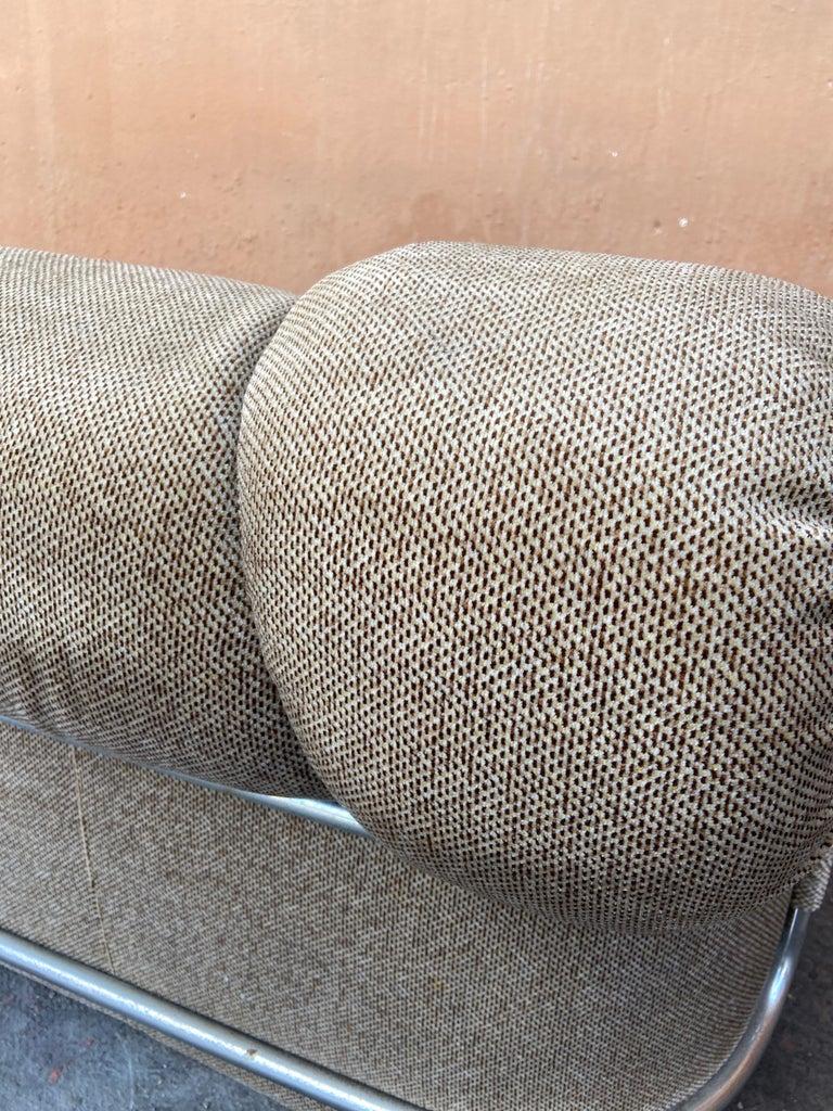 Mid-Century Modern Italian Velvet Sofa with Chrome Structure, 1970s For Sale 10