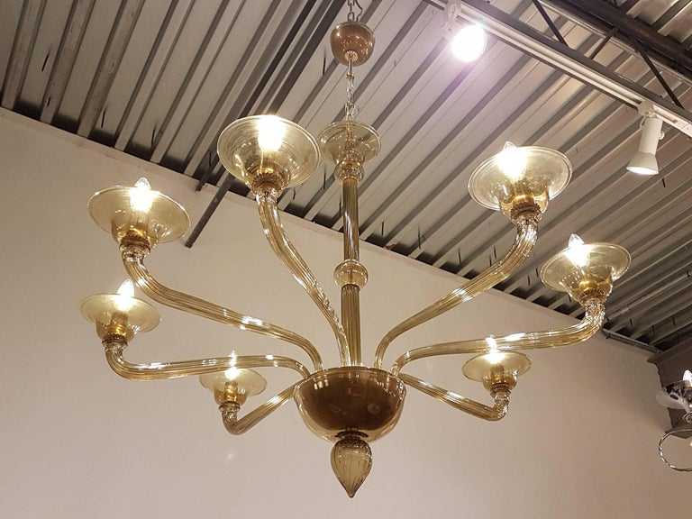 Mid century modern italian venini amber murano glass chandelier for offered is a mid century modern italian amber murano glass chandelier aloadofball Images