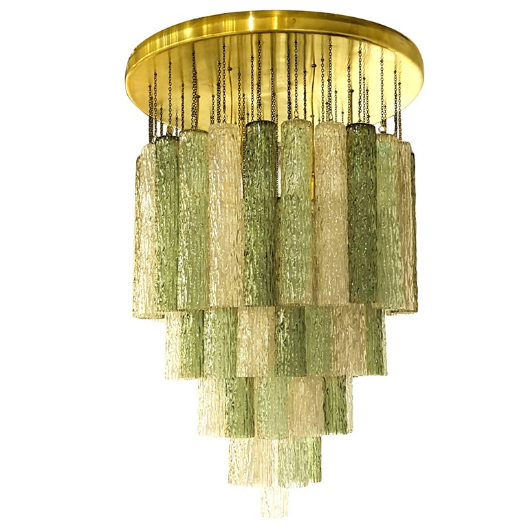 Mid-Century Modern Italian Venini Murano Glass and Brass Flush Mount Chandelier