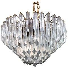 Mid-Century Modern Italian Venini Quadriedri Prism Chandelier