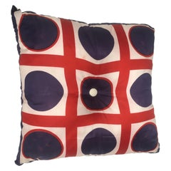 Mid-Century Modern Italian Vintage Silk Scarf Throw Pillow, 1970s