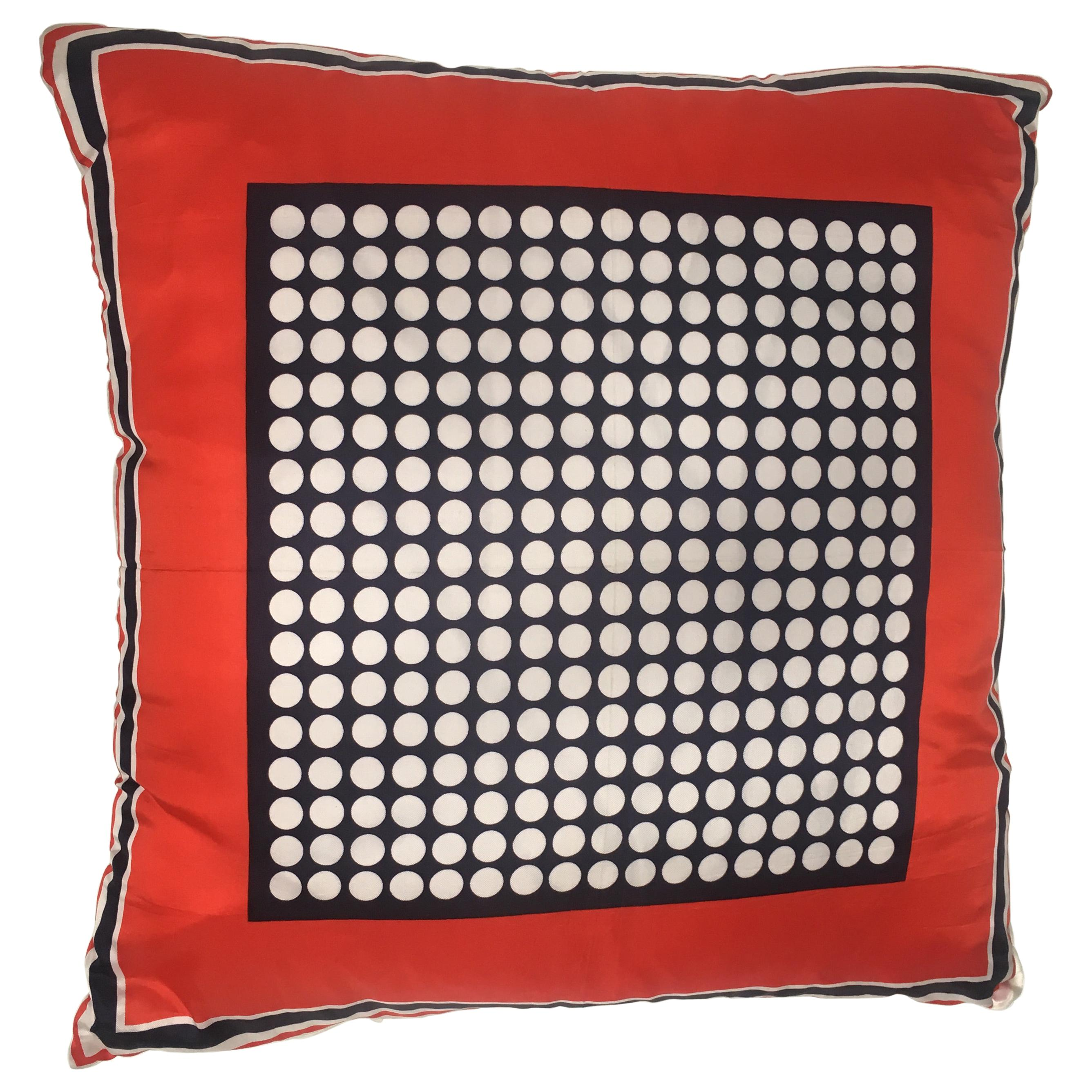 Mid-Century Modern Italian Vintage Silk Scarf Throw Pillow, 1970s
