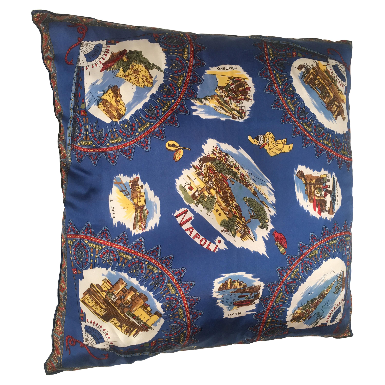 Mid-Century Modern Italian Vintage Souvenir Silk Scarf Throw Pillow, 1970s