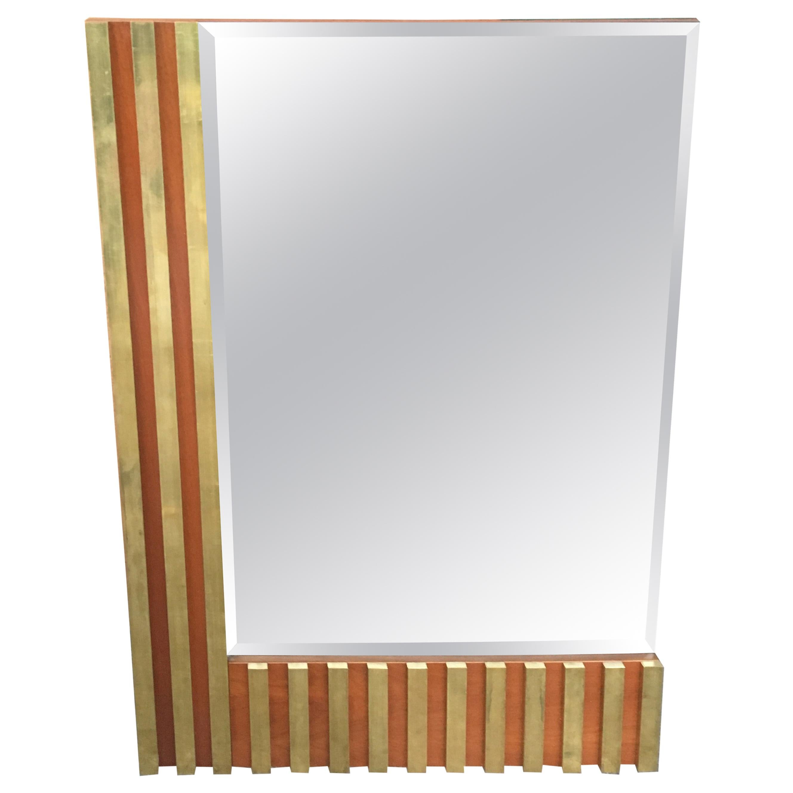 Mid-Century Modern Italian Wall Cut-Edge Smoked Mirror with Wood and Brass Frame