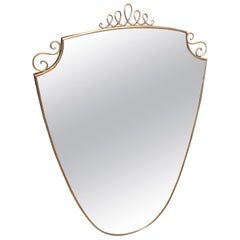 Mid-Century Modern Italian Wall Mirror in the Manner of Giò Ponti, circa 1950