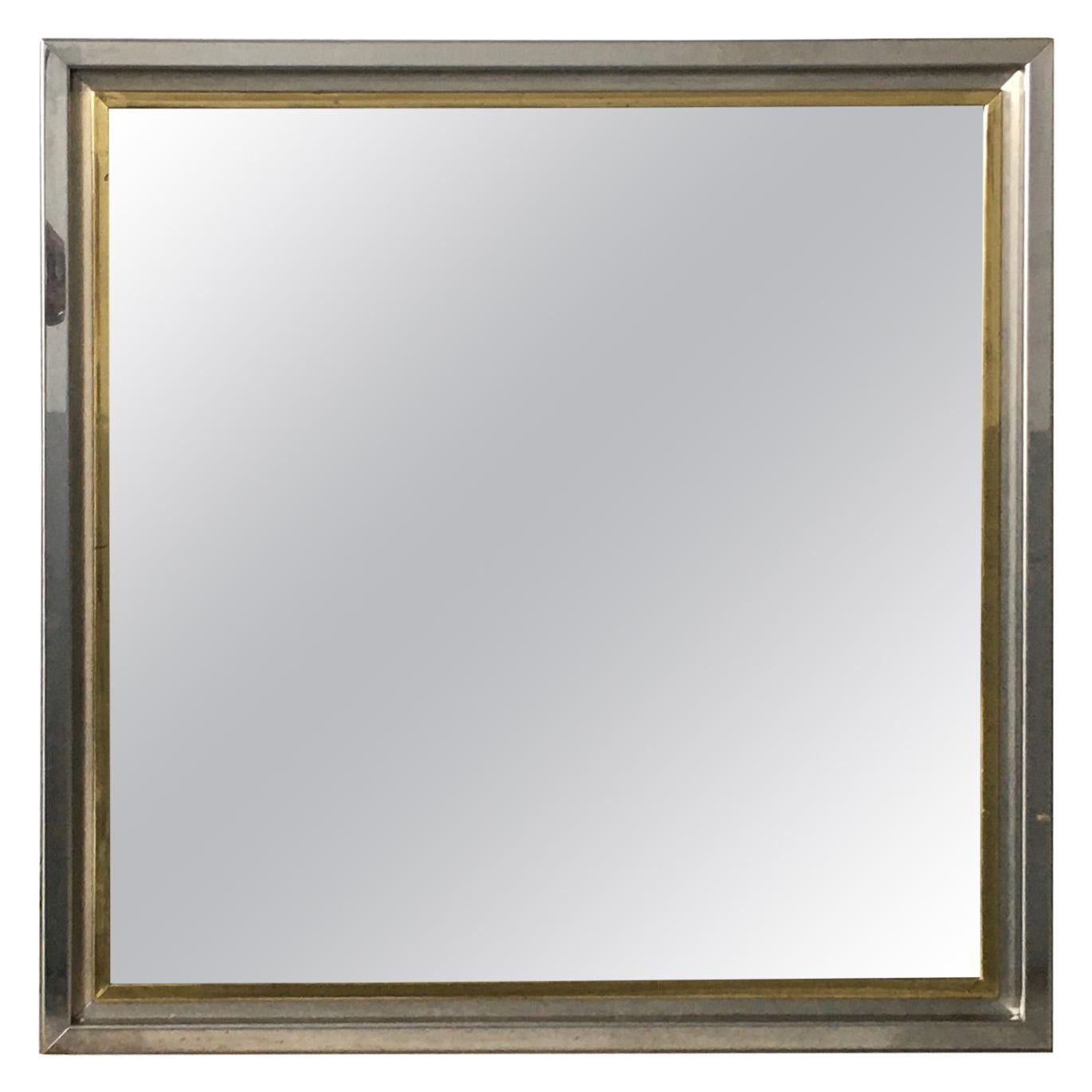 Mid-Century Modern Italian Wall Mirror with Chrome and Brass Frame, 1970s