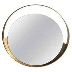 Mid-Century Modern Italian Wall Mirror with Gilt Metal Circular Frame, 1970s