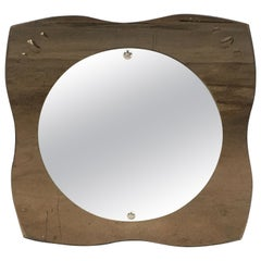Mid-Century Modern Italian Wall Mirror with Smocked Mirror Frame, 1970s