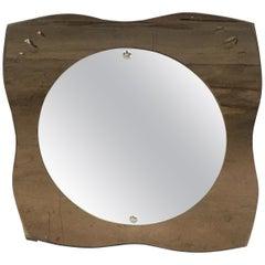 Mid-Century Modern Italian Wall Mirror with Smoked Mirror Frame, 1970s