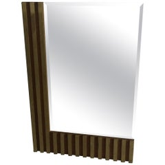 Mid-Century Modern Italian Wall Mirror with Wood and Brass Frame, 1970s