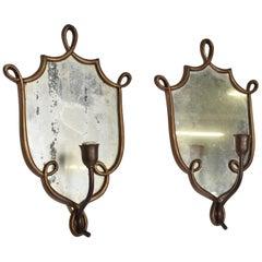 Mid-Century Modern Italian Wall Sconces after Gio Ponti, Antique Mirror & Brass