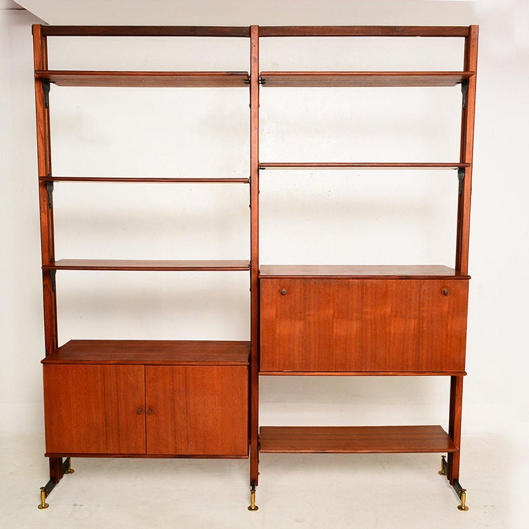 For your consideration a two bay freestanding wall unit, which can serve as room divider. 