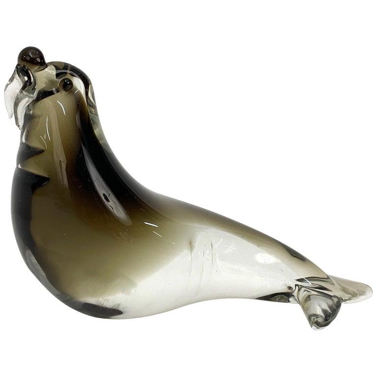 Mid-Century Modern Italian Walrus Black Brown Murano Glass Sculpture Italy 1960s For Sale