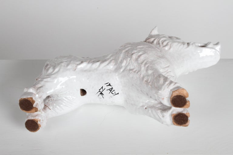 Mid-Century Modern Italian White Glazed Terracotta Boar Statue or Sculpture For Sale 4