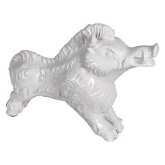 Mid-Century Modern Italian White Glazed Terracotta Boar Statue or Sculpture