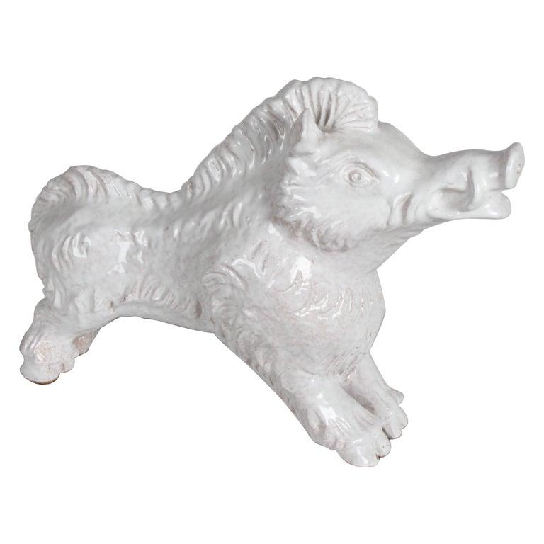 Mid-Century Modern Italian White Glazed Terracotta Boar Statue or Sculpture For Sale