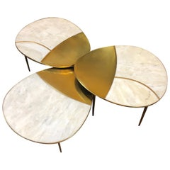 Mid-Century Modern Italian White Marble and Brass Set of Three Coffee Tables