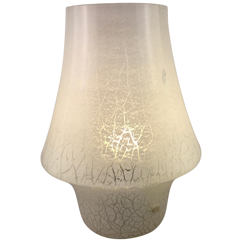 Mid-Century Modern Italian White Murano Glass Mushroom Table Lamp, 1960s