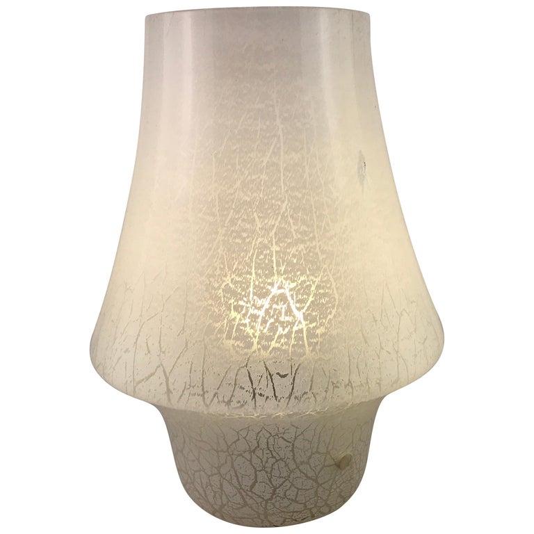 Mid-Century Modern Italian White Murano Glass Mushroom Table Lamp, 1960s For Sale