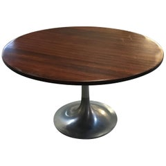Mid-Century Modern Italian Wood Side Table with Round Aluminum Base, 1970s
