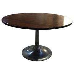 Mid-Century Modern Italian Wood Side Table with Round Aluminum Base, 1970s