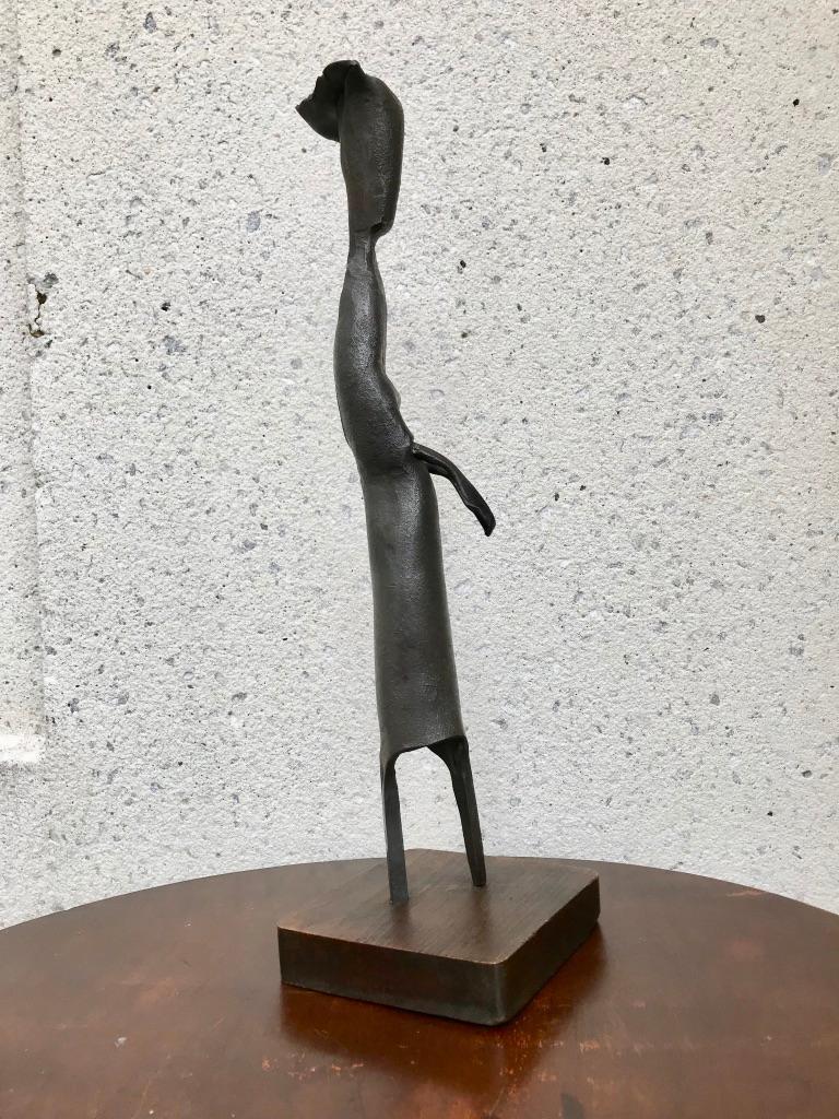 Mid-Century Modern Italian Wrought Iron Sculpture of a Nun For Sale 5