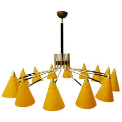 Mid-Century Modern Italian Yellow Lacquered Metal and Brass Pendant Lamp