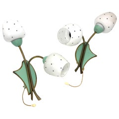 Mid-Century Modern Italy Pair of Wall Lights Glas Metal Flowers Polka Dots