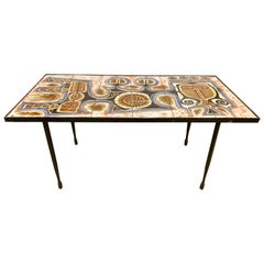 Mid-Century Modern Italy Signed Poussini Tile Table Coffee Cocktail