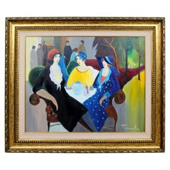 Mid-Century Modern Itzchak Tarkay Framed Original Acrylic on Canvas Painting