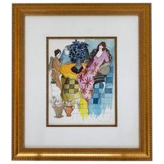 Mid-Century Modern Itzchak Tarkay Watercolor Mixed-Media Orig Lady in Pink Dress