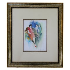 Mid-Century Modern Itzchak Tarkay Watercolor Mixed-Media Original Lady in Red