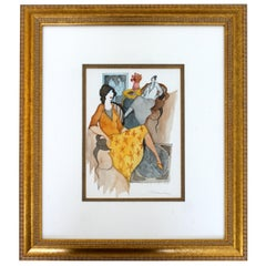 Mid-Century Modern Itzchak Tarkay Watercolor Mixed-Media Original Untitled