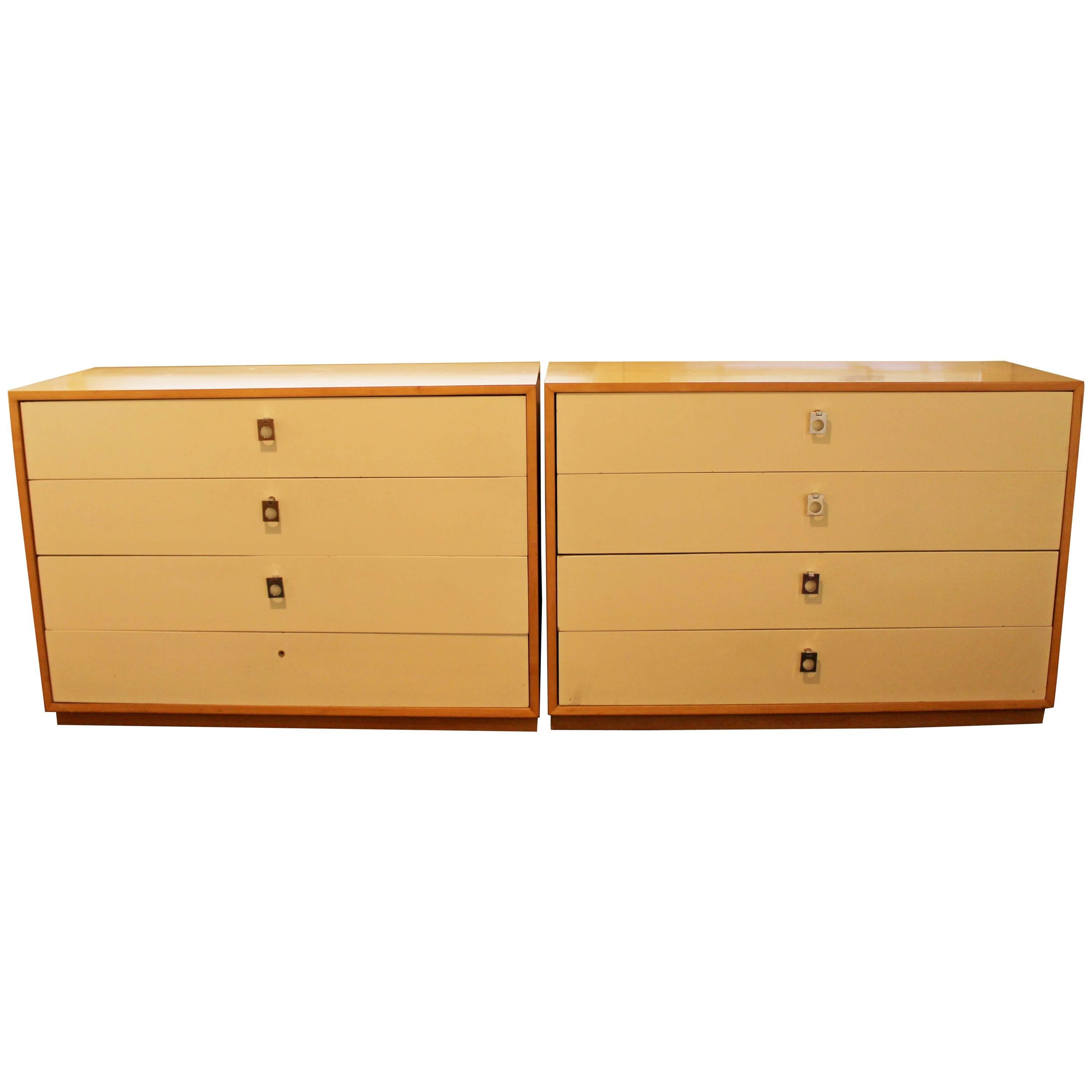 Mid Century Modern Jack Cartwright For Founders Pair Maple Dressers, 1960s  For Sale