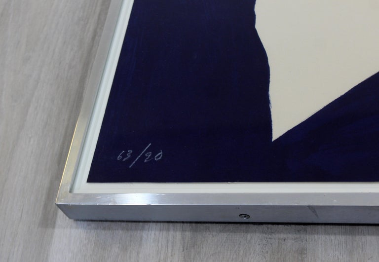 Mid-Century Modern Jack Youngerman Framed Signed White on Blue Lithograph, 1960s In Good Condition For Sale In Keego Harbor, MI