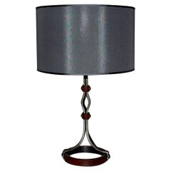 Mid-Century Modern Jacques Adnet Iron Leather Table Lamp France 1950s