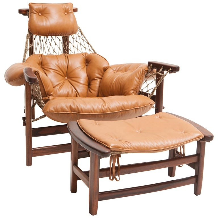 "Mid-Century Modern ""Jangada"" Armchair with Ottoman by Jean Gillon, Brazil"