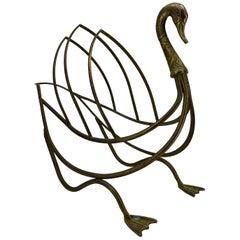 Mid-Century Modern Jansen Brass Swan Magazine Rack