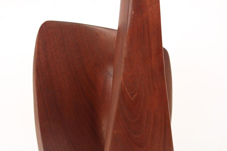 Mid-Century Modern Japanese Inspired Abstract Carved Teak Wood Sculpture For Sale 3