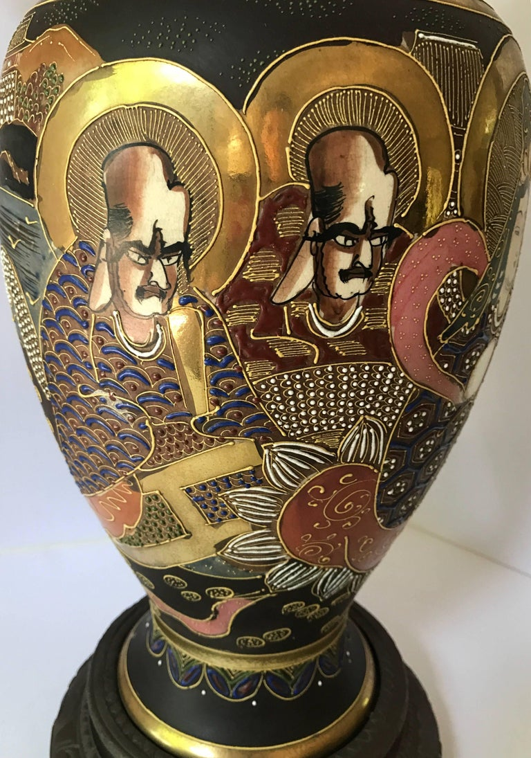 Mid-20th Century Mid-Century Modern Japanese Satsuma Urn Vessel Table Lamp For Sale