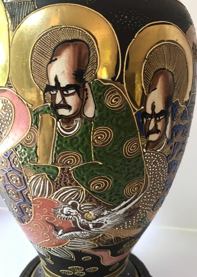 Enamel Mid-Century Modern Japanese Satsuma Urn Vessel Table Lamp For Sale
